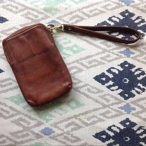 Fossil leather wallet/ phone case
